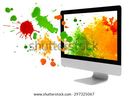 Computer monitor with paint blots and splashes on white background - stock photo