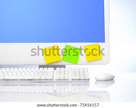 Computer monitor with sticky notes to put your own text - stock photo