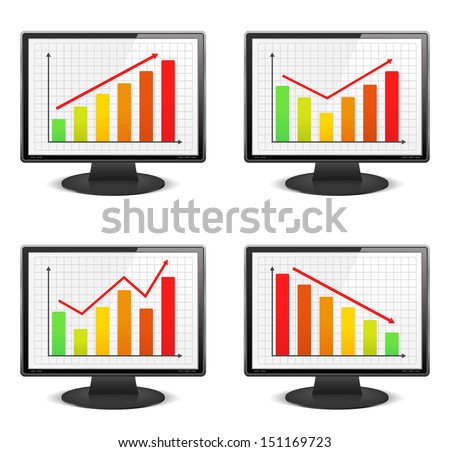 Computer monitors with different graphs - stock photo