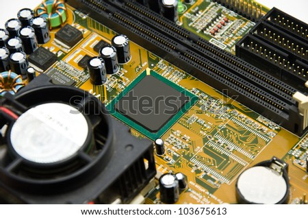 computer mother board and chip - stock photo