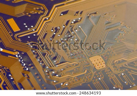 Computer Motherboard Close Up - stock photo