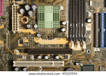 Computer motherboard, component view - stock photo
