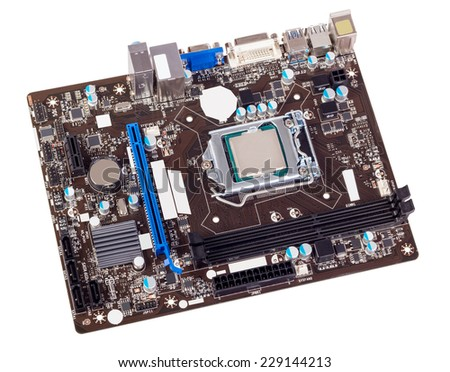 Computer motherboard isolated on white background without CPU cooler - stock photo