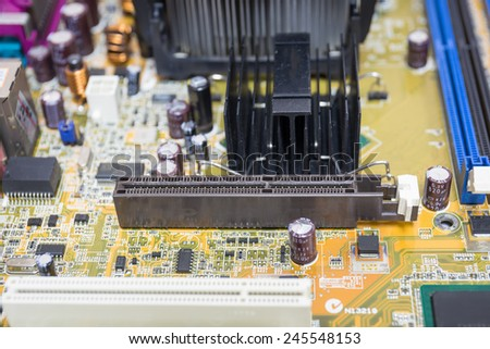 Computer motherboards, Focus PCI express - stock photo