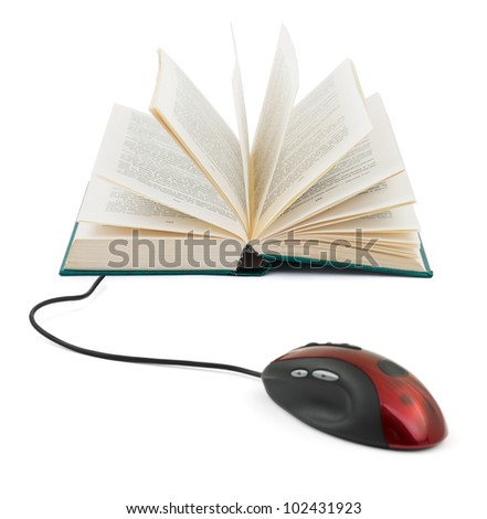 Computer mouse and book - e-learning concept - stock photo