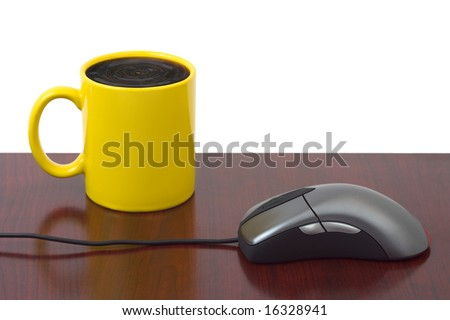 Computer mouse and coffee cup isolated on white background - stock photo