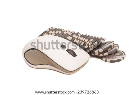 Computer mouse and pile of gambling chips. Online internet casino - stock photo