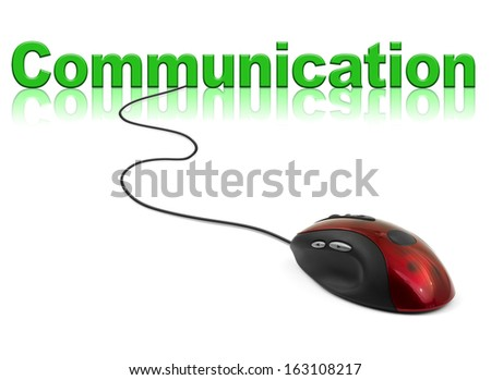 Computer mouse and word Communication - technology concept - stock photo