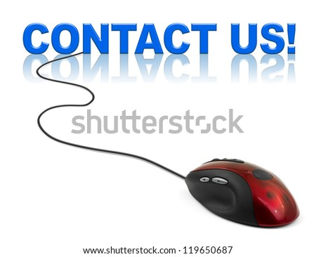 Computer mouse and word contact us - business concept - stock photo