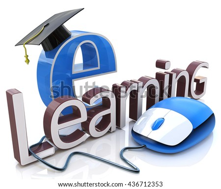 computer mouse and word E-learning - education concept in the design of information related to education. 3d illustration - stock photo