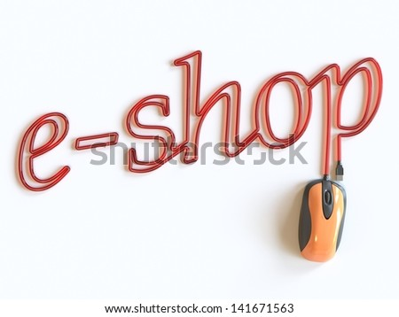 Computer mouse and word e-shop - stock photo