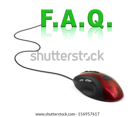 Computer mouse and word FAQ - internet concept - stock photo