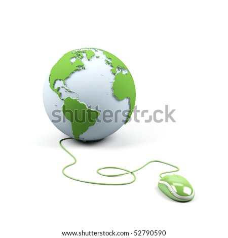 Computer mouse connected to a globe. - stock photo