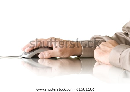 computer mouse in hand and reflection - stock photo