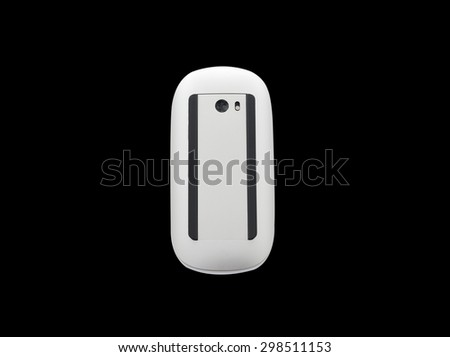 Computer mouse on a black background, close-up - stock photo