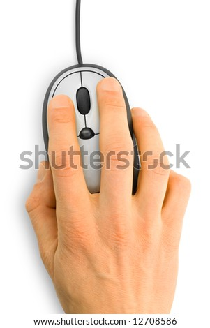 computer mouse with hand over white - stock photo