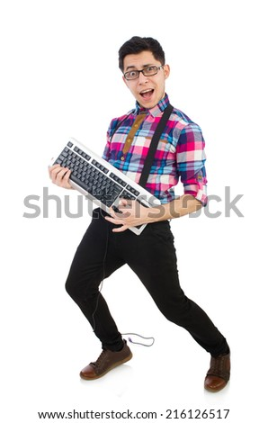 Computer nerd with keyboard isolated on white - stock photo