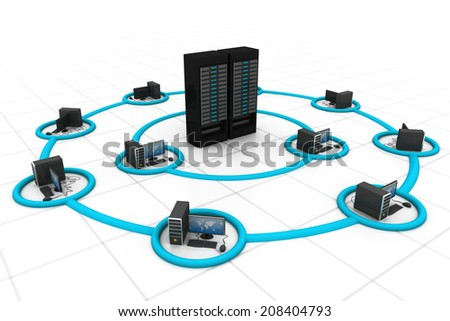 Computer Network and internet communication	 - stock photo