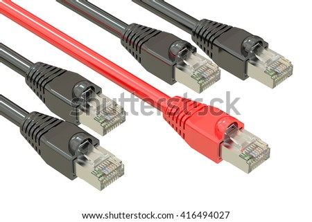 computer network cables, internet speed concept. 3D rendering - stock photo