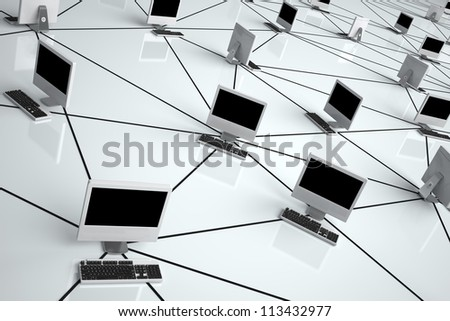 Computer Network - High quality render - - stock photo