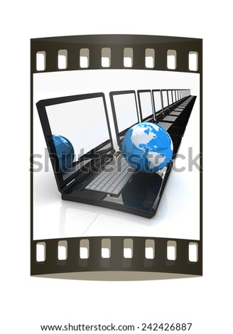 Computer Network Online concept on a white background. The film strip - stock photo