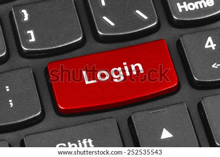 Computer notebook keyboard with Login key - technology background - stock photo