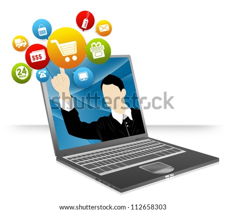 Computer Notebook With Businessman Pointing to Colorful E-Commerce Icon Isolate on White Background For Online and Internet Shopping Concept - stock photo