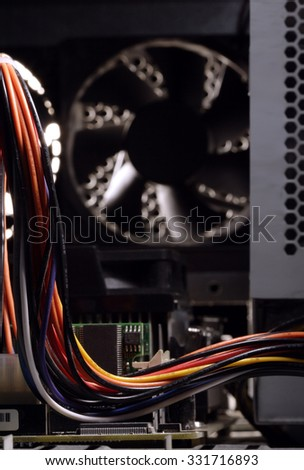 computer parts inside the wire - stock photo