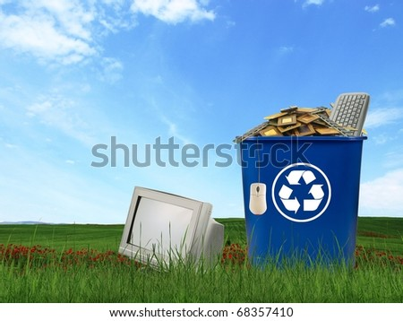 Computer parts trash in recycle bin - stock photo