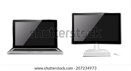 Computer pc and laptop - stock photo