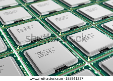 Computer PC technology and electronics industry concept: macro view of modern processors CPU with selective focus effect - stock photo