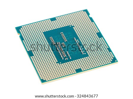 Computer processor chip (CPU) isolated on white - stock photo
