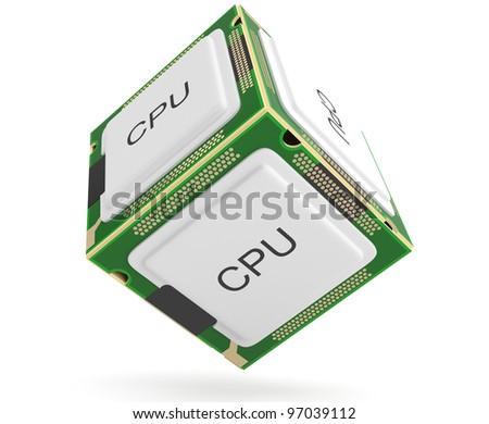 Computer processor. 3D model - stock photo