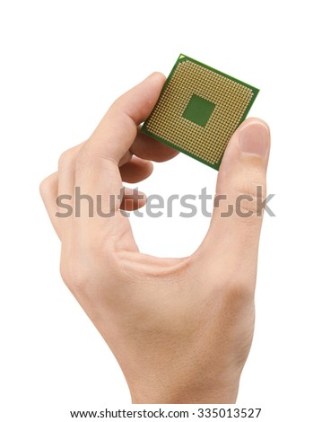 Computer processors CPU in hand, isolated on white background - stock photo