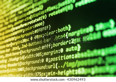 Computer program.  Abstract screen of software. Technology background. Monitor photo. Source code photo. Developer working on software codes in office. Programmer developer screen.    - stock photo