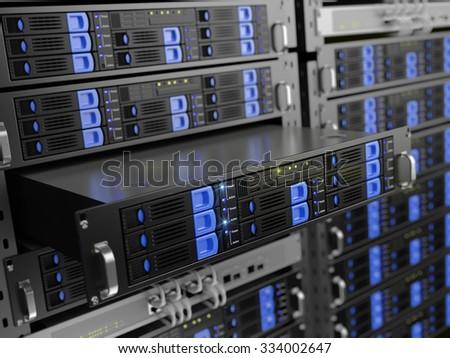 Computer rack servers - stock photo
