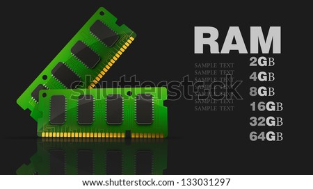 Computer RAM Memory Card isolated on black background 3d render - stock photo