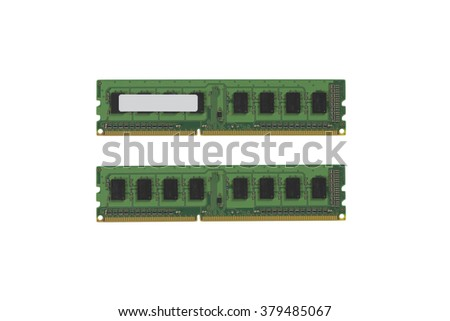 Computer ram on white background - stock photo