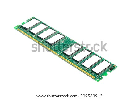 Computer ram on white background with selective focusing - stock photo