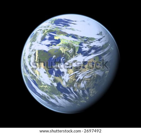 Computer Render of Earth like planet - stock photo