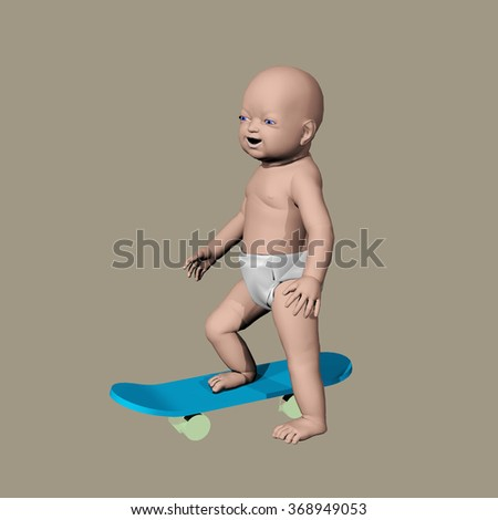 computer rendered funny illustration of a baby on a skateboard  - stock photo