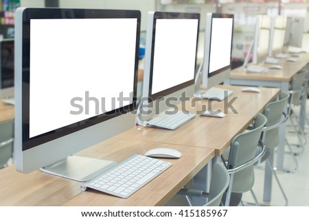 computer room with white screen in college   - stock photo