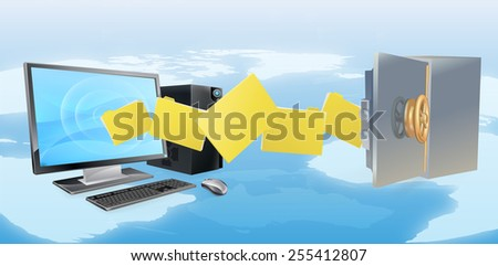 Computer safe secure transfer backup concept of files moving from computer to safe with world map in background. - stock photo