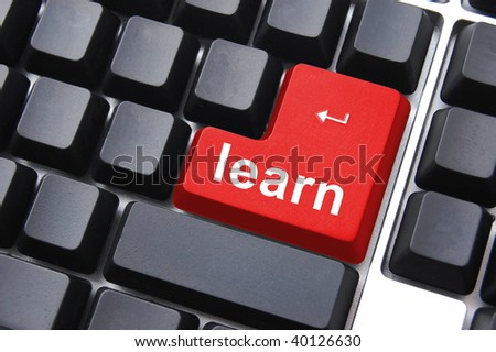 computer school or education concept with learn button - stock photo