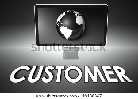 Computer screen and globe with word Customer, E-commerce concept - stock photo