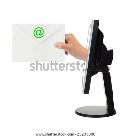 Computer screen and hand with letter isolated on white background - stock photo