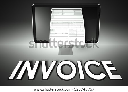 Computer screen and invoice with word Invoice, Tax concept - stock photo