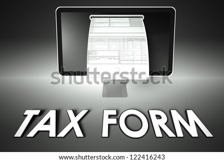 Computer screen and invoice with word Tax form, Invoice concept - stock photo