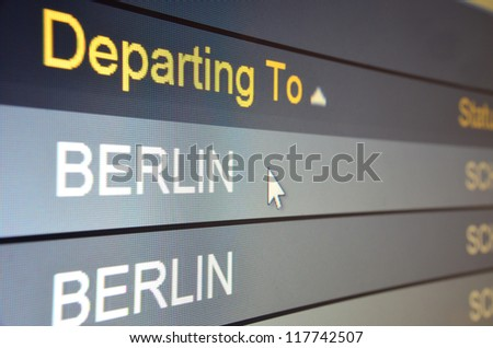 Computer screen closeup of Berlin flight status - stock photo