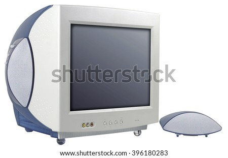 computer screen monitor old technology image view - stock photo